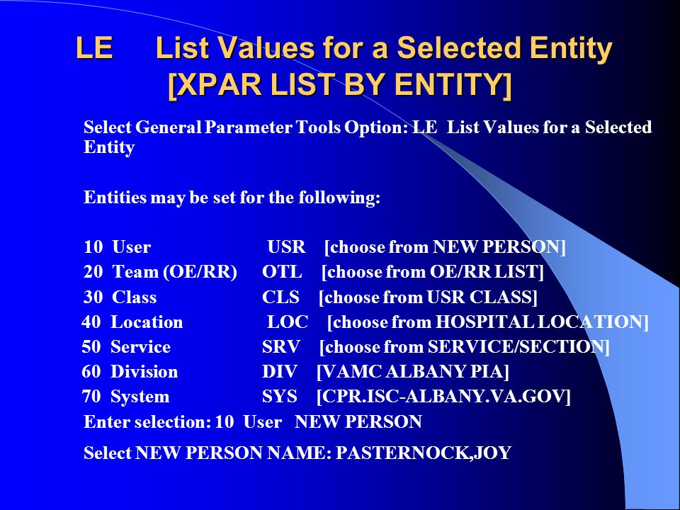LE List Values for a Selected Entity [XPAR LIST BY ENTITY]